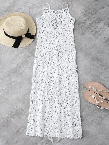 White Sheer Crochet Lace Midi Slip Dress