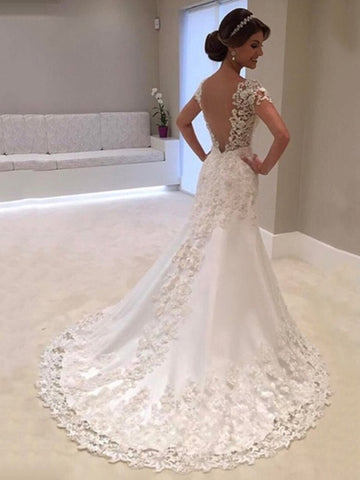 Short Sleeves Appliques Mermaid Wedding Dress