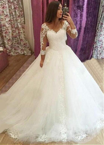 Tulle V-neck Long Sleeves Ball Gown Wedding Dress With Lace Appliques