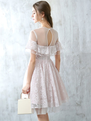 Romantic White Button Lace Short Sleeves Homecoming Dress