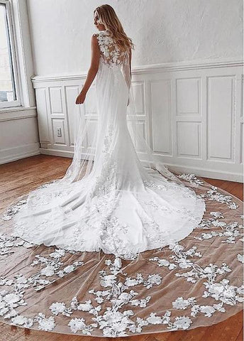 Appliques & Watteu Chiffon Jewel Lace Mermaid Wedding Dress