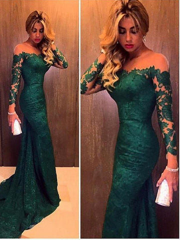 Trumpet/Mermaid Long Sleeves Green PromDress