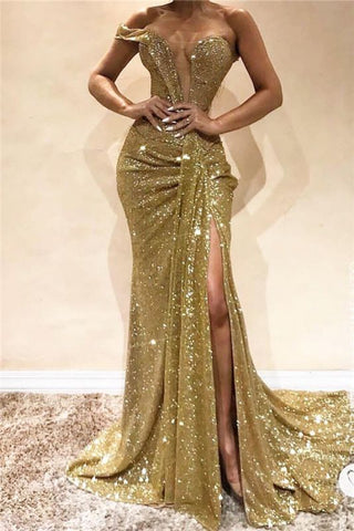 Sequins Gold Mermaid One Shoulder Side Slit Long Prom Dress