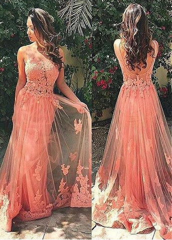 Coral Sheath Evening Dresses With Lace Appliques