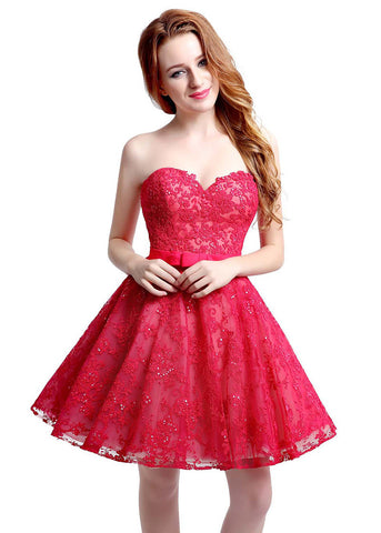 Romantic Tulle & Lace Sweetheart Neckline Short-length A-line Homecoming Dresses With Belt
