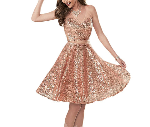 V Neck Sequins Short Prom Homecoming Dresses