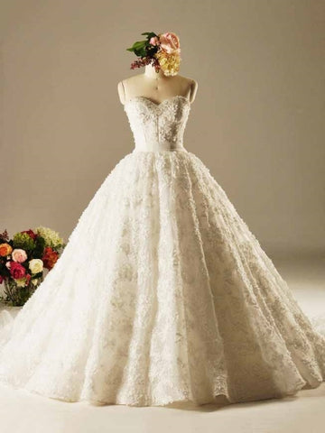 High Quality Strapless Lace Wedding Dress
