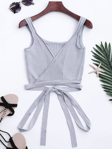 Gray Knitted Wrap Crop Tank Top