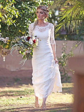 Sheath Column Lace Bateau 1/2 Sleeves Sweep/Brush Train Wedding Dress