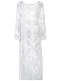 White Flare Sleeve Sheer Lace Maxi Dres