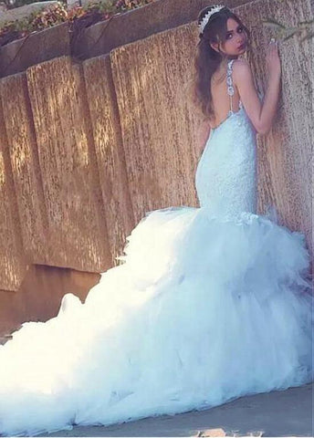 Tulle Sweetheart lace Appliques Backless Mermaid Wedding Dress
