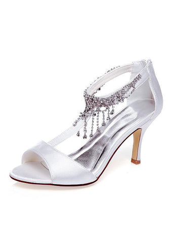 Charming Satin Upper Open Toe Stiletto Heels Wedding Shoes With Beads