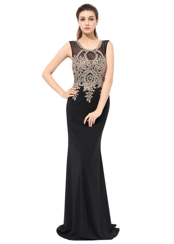 Exquisite Crystal Shuang Ma Scoop Neckline Sheath Evening Dresses With Lace Appliques