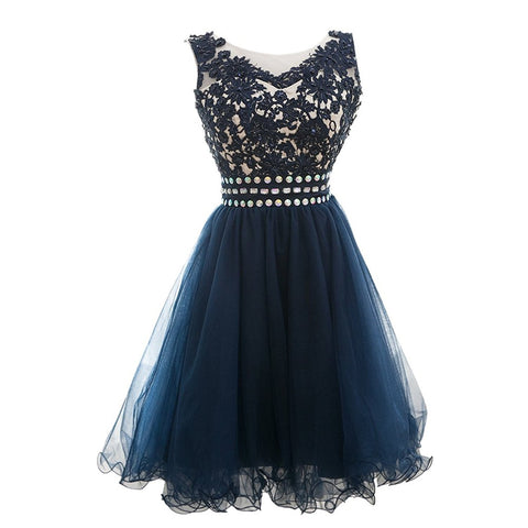 Appliques Beaded Scoop Short Homecoming Dress