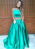 Green Spaghetti Straps Two-piece A-Line Prom Dresses