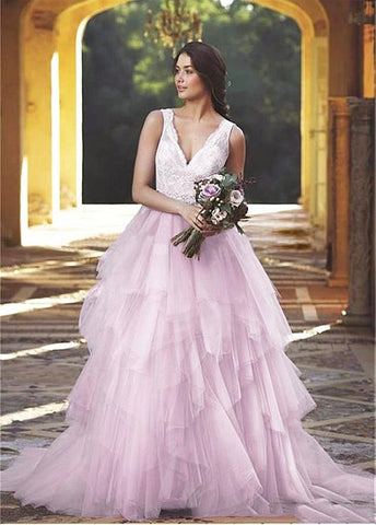 Pink Ball Gown Evening Dresses With Belt