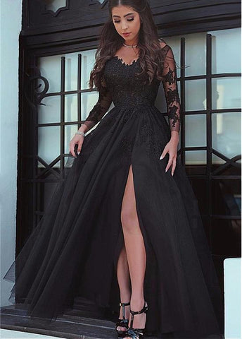 Tulle Off-the-shoulder Neckline Long Sleeves A-line Evening Dress With Lace Appliques