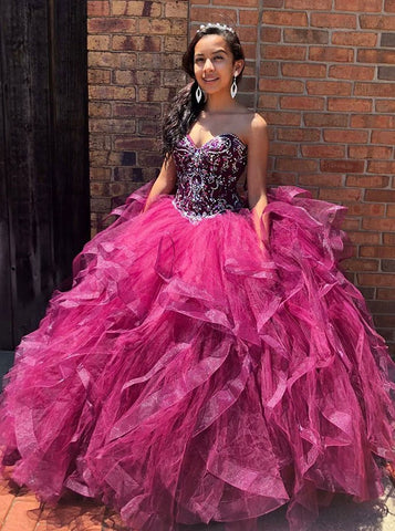 Ball Gown Sweetheart Fuchsia Organza Quinceanera Dress with Beading