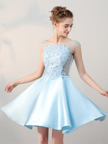 Blue Lace Pearls Cap Sleeves Mini Homecoming Dress
