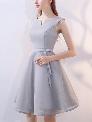 Blue Bowknot V-Neck Knee-Length Homecoming Dress