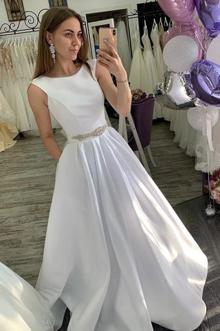 Round Neck Sleeveless A Line Beading Satin Wedding Dress With Pockets