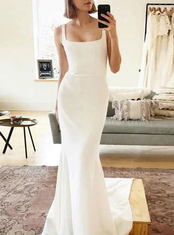 Spaghetti Strap Romantic Mermaid Satin Backless Wedding Dress