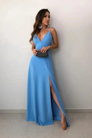 Blue Spandex Floor Length Spaghetti Straps Prom Dress With Slit