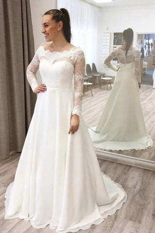 Lace Long Sleeve A Line Sheer Back Off The Shoulder Satin Wedding Dress
