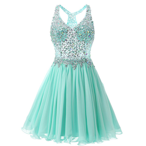 Women's Short/Mini Halter A Line/Princess Homecoming Dresses Beaded Bodice