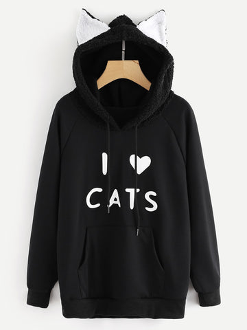 Black Contrast Faux Shearling Cat Ear Detail Hoodie