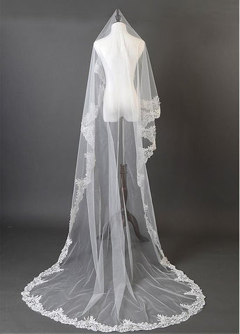 Beautiful Ivory Tulle Cathedral Wedding Veil With Lace Appliques