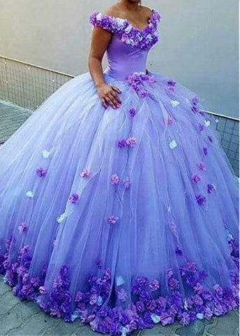 Real Photos  Attractive Tulle Off-the-shoulder Neckline Ball Gown Evening Dresses With 3D Flowers