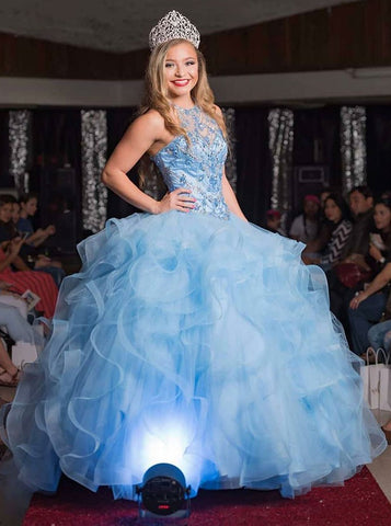 Ball Gown Jewel Blue Tulle Quinceanera Dress with Beading