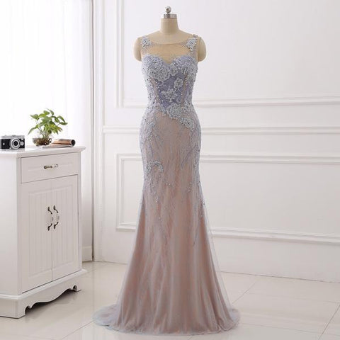 Elegance Scoop Appliques  Mermaid Lavender Prom Dress
