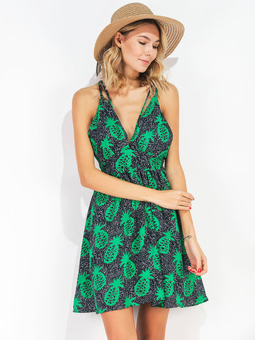 Green Backless V-neck Sexy Mini Dresses