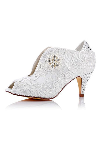 Marvelous Lace Upper Peep Toe Stiletto Heels Bridal Shoes