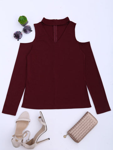 Burgundy Cold Shoulder Cut Out Ribbed Knitted Tee
