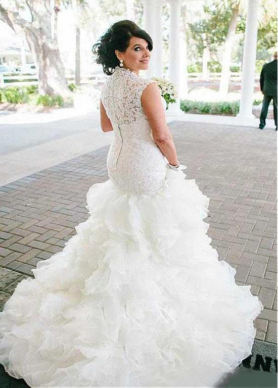 Exquisite Tulle Organza Queen Anne Neckline Mermaid Wedding Dresses Cheap Sassymyprom