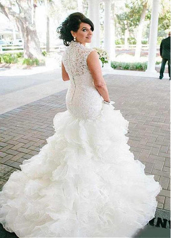 Exquisite Tulle & Organza Queen Anne Neckline Mermaid Wedding Dresses With Lace Appiques & Ruffles