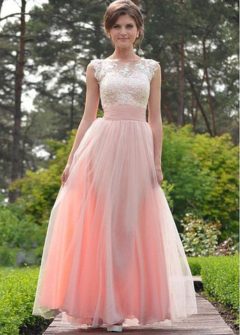 Tulle Jewel Pink Belt Appliques Floor-length A-line Prom Dress