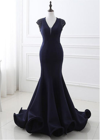 Real Photo Modern Polyamide V-neck Neckline Cut-out Mermaid Formal Dresses With Beadings