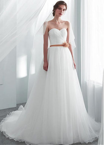 Tulle Sweetheart Flower Belt A-line Wedding Dress