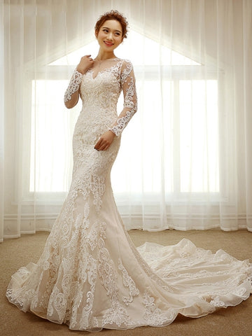 Lace Appliques Long Sleeves Long Train Mermaid Wedding Dress