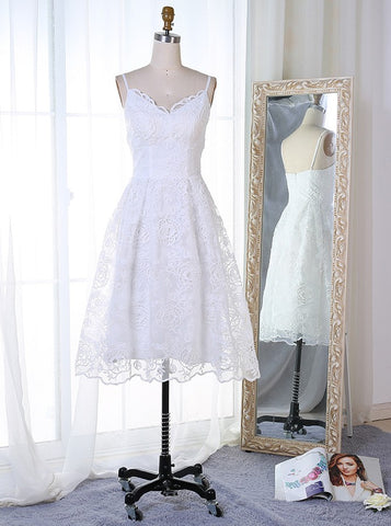 White Lace Spaghetti Straps Short Homecoming Dress
