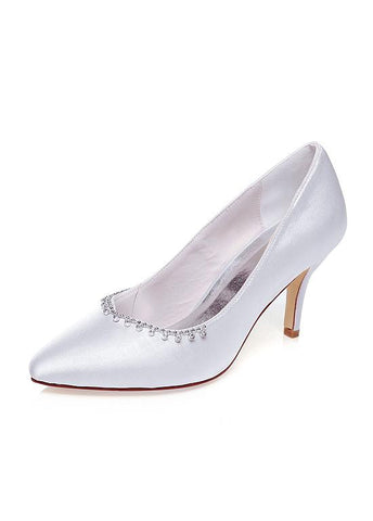 Elegant Satin Upper Pointed Toe Stiletto Heels Wedding Shoes With Beads