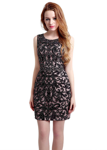 Shining Lace Scoop Neckline Sleeveless Short-length Sheath Cocktail Dresses With Hot Fix Rhinestone