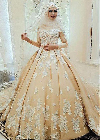 Tulle High Collar Ball Gown Arabic Islamic Wedding Dress With Beaded Lace Appliques