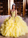 Ball Gown Off-the-Shoulder Yellow Tulle Quinceanera Dress with Beading