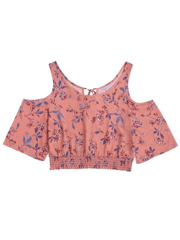 Floral Smocked Cold Shoulder Top