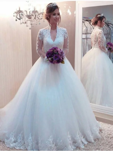 Ball Gown Tulle Applique High Neck Long Sleeves Wedding Dress